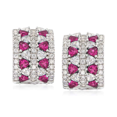1.90 ct. t.w. CZ and .80 ct. t.w. Simulated Ruby Curved Earrings in Sterling Silver