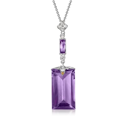 C. 2000 Vintage 20.11 ct. t.w. Amethyst and .35 ct. t.w. Diamond Pendant Necklace in 18kt White Gold