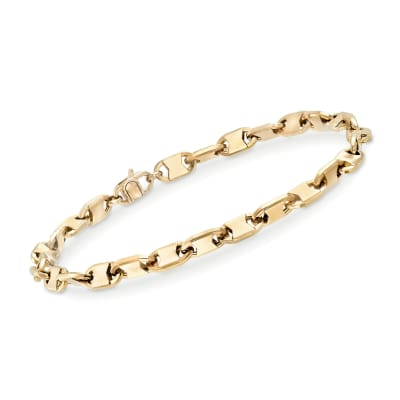 Men's 5mm 14kt Yellow Gold Oval-Link Bracelet