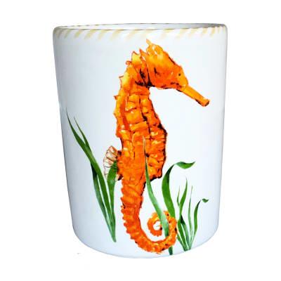 "Abbiamo Tutto ""Seahorse"" Ceramic Wine Bottle/Kitchen Utensil Holder from Italy"