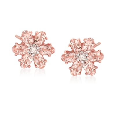 2.20 ct. t.w. Morganite and .12 ct. t.w. Diamond Flower Earrings in 14kt Rose Gold Over Sterling