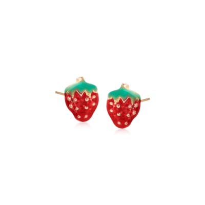 Child's Enamel Strawberry Stud Earrings in 14kt Yellow Gold