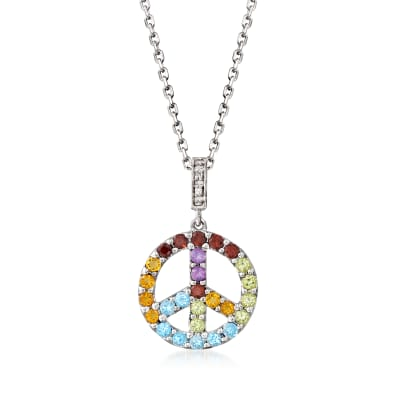 .55 ct. t.w. Multi-Gemstone Peace Sign Pendant Necklace with Diamond Accents in Sterling Silver