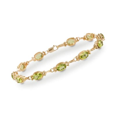 5.50 ct. t.w. Peridot Bracelet in 14kt Yellow Gold