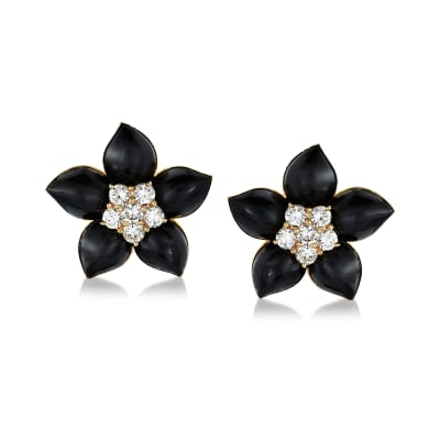 C. 1970 Vintage Black Onyx and 2.35 ct. t.w. Diamond Flower Earrings in 18kt Yellow Gold