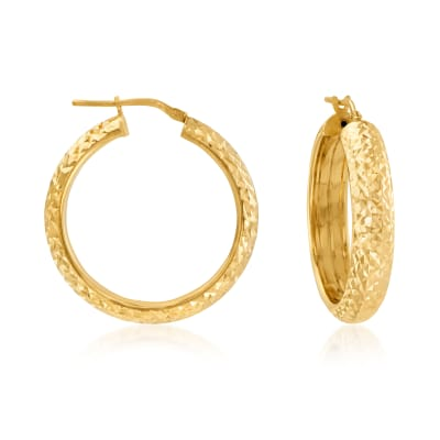 Italian 18kt Gold Over Sterling Diamond-Cut Hoop Earrings