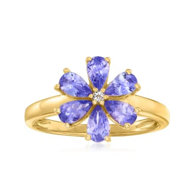 .10 ct. t.w. Tanzanite Flower Ring with White Topaz Accent in 18kt Gold Over Sterling