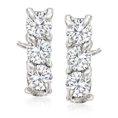 .24 ct. t.w. Diamond Bar Stud Earrings in 14kt White Gold
