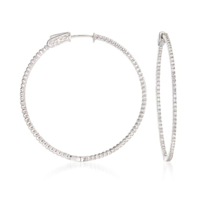 1.50 ct. t.w. CZ Hoop Earrings in Sterling Silver