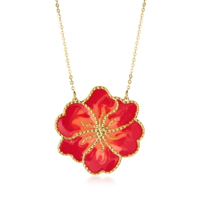Italian Orange Enamel Flower Necklace in 14kt Yellow Gold