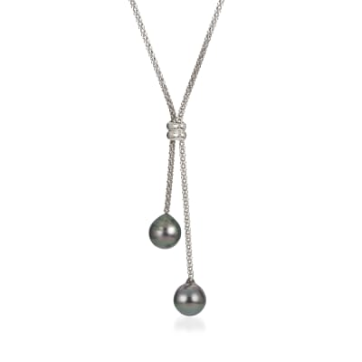 9-10mm Black Cultured Tahitian Pearl Lariat Necklace in Sterling Silver