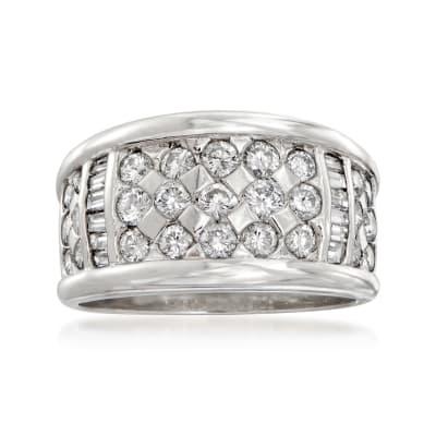 C. 1980 Vintage 1.33 ct. t.w. Diamond Checkerboard Ring in Platinum