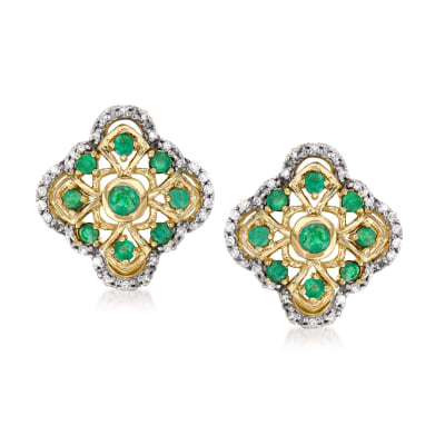 .30 ct. t.w. Emerald and .15 ct. t.w. Diamond Earrings in 14kt Yellow Gold