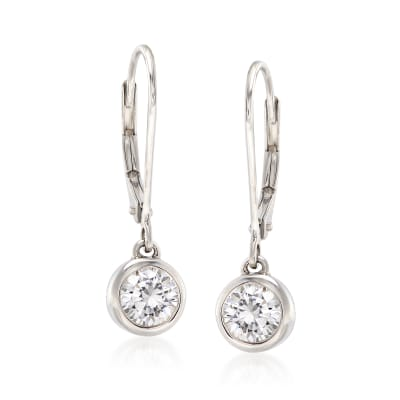 1.00 ct. t.w. Bezel-Set Diamond Drop Earrings in 14kt White Gold