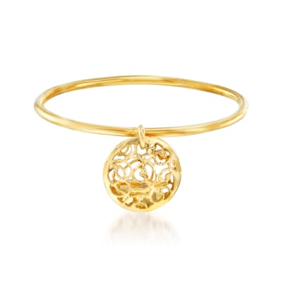 Italian 18kt Yellow Gold Filigree Disc Charm Ring