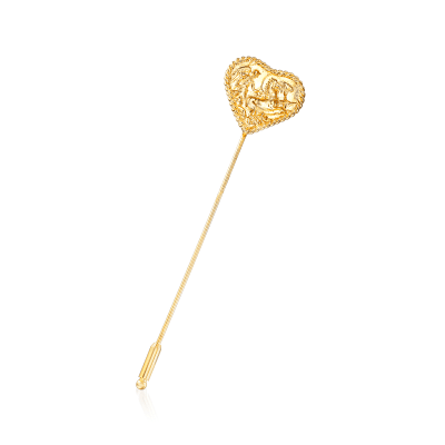 Italian 18kt Gold Over Sterling Heart Chariot Stick Pin