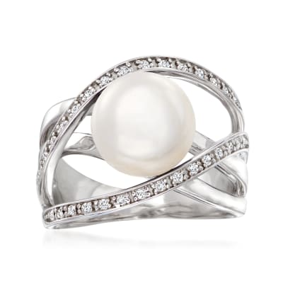 10mm Cultured Pearl and .10 ct. t.w. White Zircon Highway Ring in Sterling Silver