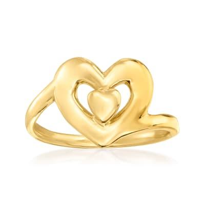 Italian 14kt Yellow Gold Heart Ring