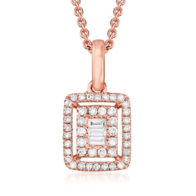 .22 ct. t.w. Round and Baguette Diamond Frame Pendant Necklace in 18kt Rose Gold