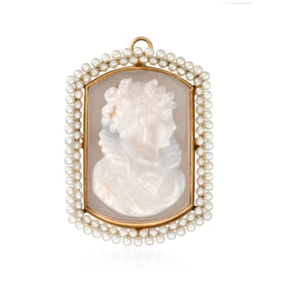 C. 1950 Vintage 2mm Cultured Pearl and White Agate Cameo Pin/Pendant in 14kt Yellow Gold