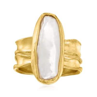 Cultured Baroque Pearl Ring in 18kt Gold Over Sterling