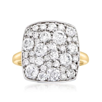 2.00 ct. t.w. Diamond Mosaic Cluster Ring in Sterling Silver and 14kt Yellow Gold