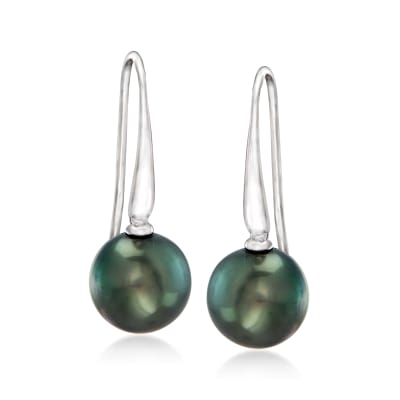 10-10.5mm Black Cultured Tahitian Pearl Drop Earrings in Sterling Silver