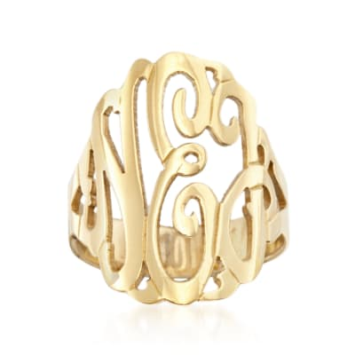 24kt Gold Over Sterling Silver Open Script Monogram Ring