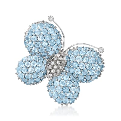 C. 1980 Vintage 15.50 ct. t.w. Swiss Blue Topaz and .40 ct. t.w. Diamond Butterfly Pin in 18kt White Gold