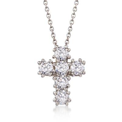 1.50 ct. t.w. CZ Cross Pendant Necklace in Sterling Silver