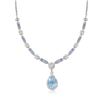 C. 1980 Vintage 8.30 ct. t.w. Sky Blue Topaz and 3.60 ct. t.w. Sapphire Floral Drop Necklace with 1.50 ct. t.w. Diamonds in 18kt White Gold