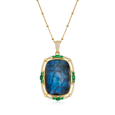 Mixed Gem Pendant Necklace in 18kt Gold Over Sterling