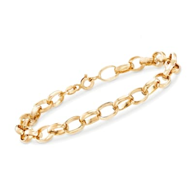 Italian 6mm 18kt Yellow Gold Cable-Link Chain Bracelet