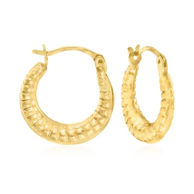 14kt Yellow Gold Embellished Hoop Earrings