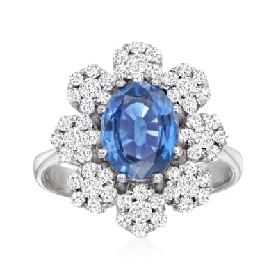 2.20 Carat Sapphire and .84 ct. t.w. Diamond  Floral Halo Ring in 14kt White Gold