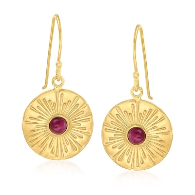 Italian .50 ct. t.w. Ruby Starburst Drop Earrings in 18kt Gold Over Sterling