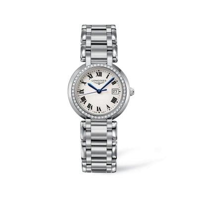 Longines Primaluna Women's 30mm .40 ct. t.w. Diamond Watch in Stainless Steel - Silver Dial