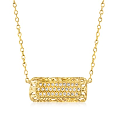 .10 ct. t.w. Diamond Openwork Bar Necklace in 14kt Yellow Gold