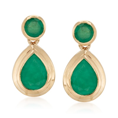 2.40 ct. t.w. Emerald Drop Earrings in 14kt Yellow Gold