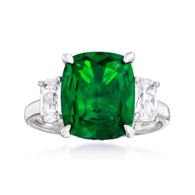6.25 Carat Simulated Emerald and 1.10 ct. t.w. CZ Three-Stone Ring in Sterling Silver