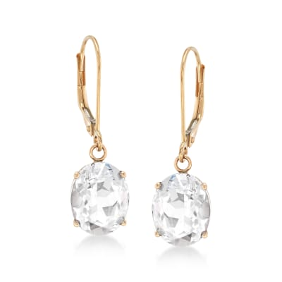 7.00 ct. t.w. White Topaz Drop Earrings in 14kt Yellow Gold