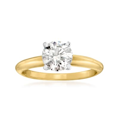 C. 1990 Vintage 1.18 Carat Diamond Ring in 14kt Yellow Gold