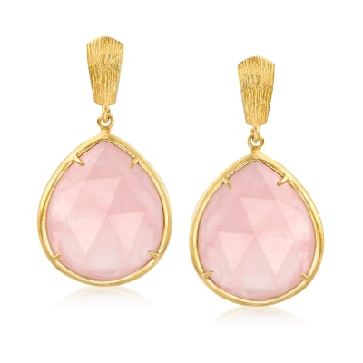 40.00 ct. t.w. Rose Quartz Drop Earrings in 18kt Gold Over Sterling