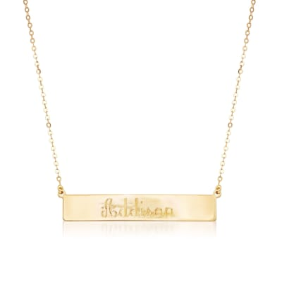 Italian 18kt Yellow Gold Name Bar Necklace
