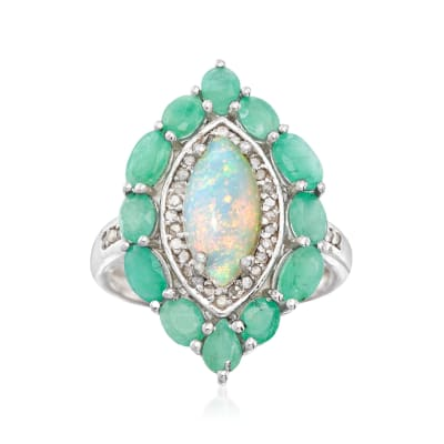 Opal and 1.80 ct. t.w. Emerald Marquise Ring with .17 ct. t.w. Diamonds in Sterling Silver