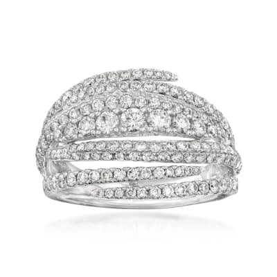 C. 1990 Vintage Piero Milano 1.61 ct. t.w. Diamond Highway Ring in 18kt White Gold