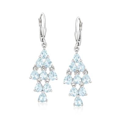 3.70 ct. t.w. Aquamarine Chandelier Earrings in Sterling Silver