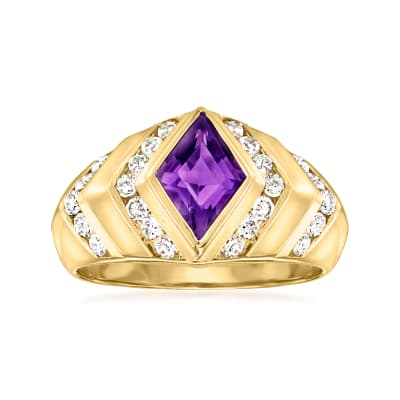 C. 1980 Vintage .75 Carat Amethyst Ring with .50 ct. t.w. Diamonds in 14kt Yellow Gold
