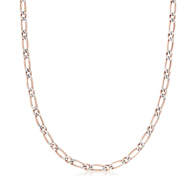 Italian 4mm Two-Tone Sterling Silver Figaro Chain Necklace