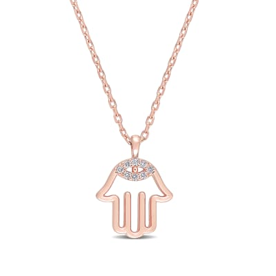 14kt Rose Gold Hamsa Hand Necklace with Diamond Accents
